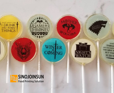 Game of Thrown themed lollipops printed with Sinojoinsun coffee printer and edible ink_副本